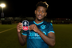 Rollin Menayese of Bristol Rovers with the Man of the Match Award after the final whistle of the match  - Mandatory by-line: Ryan Hiscott/JMP - 19/11/2019 - FOOTBALL - Hayes Lane - Bromley, England - Bromley v Bristol Rovers - Emirates FA Cup first round replay