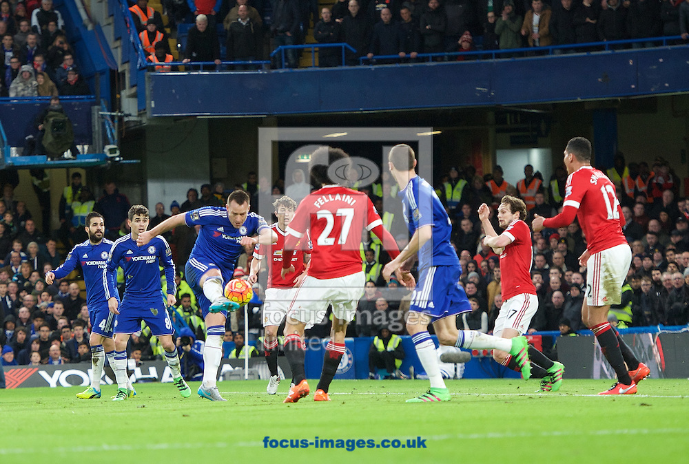 John Terry of Chelsea has a shot on goal during the Barclays Premier League match at Stamford Bridge, London<br /> Picture by Alan Stanford/Focus Images Ltd +44 7915 056117<br /> 07/02/2016