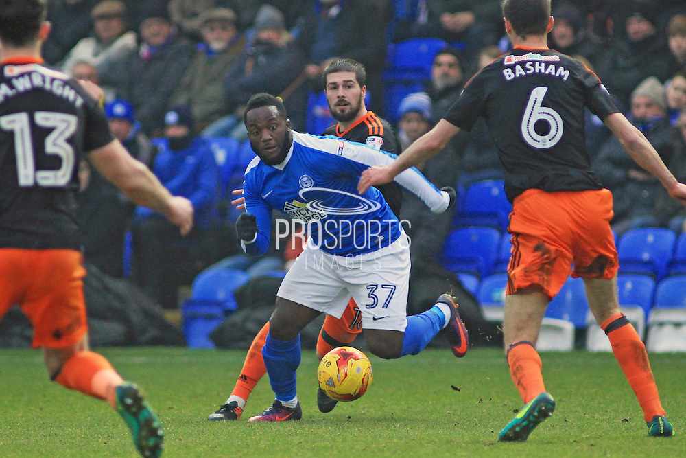 Peterborough United forward and substitute Junior Morias (37)  turns with the ball during the EFL Sky Bet League 1 match between Peterborough United and Sheffield Utd at London Road, Peterborough, England on 11 February 2017. Photo by Nigel Cole.