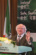"SHANGHAI, CHINA - DECEMBER 11: (CHINA OUT)<br /> <br />  Irish President Michael D Higgins delivers a speech during his participation ""Busines Lunch"" held by Irish Food Board and Irish Trade and Technology Board at Shangri La Hotel on December 11, 2014 in Shanghai, China. <br /> ©Exclusivepix Media"