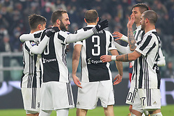 December 20, 2017 - Turin, Piedmont, Italy - Gonzalo Higuain (Juventus FC, left) celebrates with teammates during the Italian Cup football match between Juventus FC and Geona CFC at Allianz Stadium on 20 December, 2017 in Turin, Italy. ..Juventus won 2-0 over Genoa. (Credit Image: © Massimiliano Ferraro/NurPhoto via ZUMA Press)