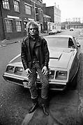 Man and Pontiac Trans Am,London,UK, 1980s.