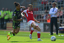 Kyle Bennett of Bristol Rovers puts pressure on Jon Taylor of Rotherham United - Mandatory by-line: Alex James/JMP - 21/04/2018 - FOOTBALL - Aesseal New York Stadium - Rotherham, England - Rotherham United v Bristol Rovers - Sky Bet League One