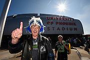 Feb 1, 2015; Glendale, AZ, USA; Seattle Seahawks fan Damian Greene arrives before Super Bowl XLIX against the New England Patriots at University of Phoenix Stadium. The Patriots defeated the Seahawks 28-24.