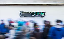 21.02.2016, Olympiaeisbahn Igls, Innsbruck, AUT, FIBT WM, Bob und Skeleton, Herren, Viererbob, 3. Lauf, im Bild Edson Bindilatti, Edson Ricardo Martins, Erick Gilson Vianna Jeronimo, Rafael Souza Da Silva (BRA) // Edson Bindilatti Edson Ricardo Martins Erick Gilson Vianna Jeronimo Rafael Souza Da Silva of Brazil compete during Four-Man Bobsleigh 3rd run of FIBT Bobsleigh and Skeleton World Championships at the Olympiaeisbahn Igls in Innsbruck, Austria on 2016/02/21. EXPA Pictures © 2016, PhotoCredit: EXPA/ Johann Groder