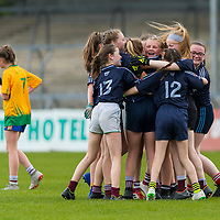 the Barefield team celebrate their success.<br /> <br /> Division 1 between Barefield NS and Knockanean NS in the Clare Primary Schools Ladies Football Finals at Cusack Park, Ennis, Co. Clare