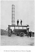 Mobile radio station used by Marconi. Illustration published London 1903.
