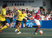 HKFC Citibank Soccer sevens Cup final Aston Villa vs West Ham United. Aston Villa take the cup. West Ham's Moses Makasi (R) gets away from Aston Villas's KHALID ABDO (middle)