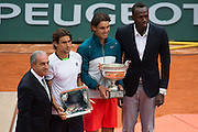 Paris, France. Roland Garros. June 9th 2013.<br /> Men's final. <br /> Spanish player Rafael NADAL wins Roland Garros for the 8th time, against David FERRER<br /> From left to right : Jean Gachassin, David Ferrer, Rafael Nadal, Usain Bolt
