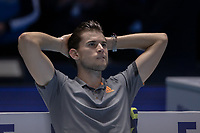 Tennis - 2019 Nitto ATP Finals at The O2 - Day Eight<br /> <br /> Singles Final : Stefanos Tsitsipas (Greece) Vs. Dominic Thiem (Austria)<br /> <br /> Dominic Thiem (Austria) sits back and reflects on what might have been<br /> <br /> COLORSPORT/DANIEL BEARHAM