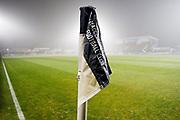 Macclesfield Town corner flag. EFL Sky Bet League 2 match between Macclesfield Town and Crewe Alexandra at Moss Rose, Macclesfield, United Kingdom on 21 January 2020.