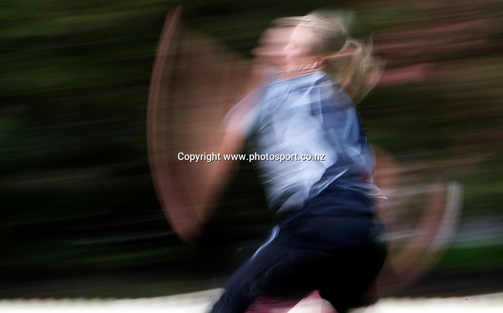 Sydney-March 10: Beth McNeill bowling  during the West Indies V New Zealand group A match at Bankstown Oval  in the ICC Women's World Cup Cricket Tournament, in Sydney, Australia on March 10, 2009. New Zealand won by 56 runs. Photo by Tim Clayton.