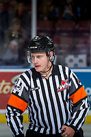 KELOWNA, CANADA - NOVEMBER 14: Referee Ward Pateman stands on the ice at the Kelowna Rockets on November 14, 2017 at Prospera Place in Kelowna, British Columbia, Canada.  (Photo by Marissa Baecker/Shoot the Breeze)  *** Local Caption ***