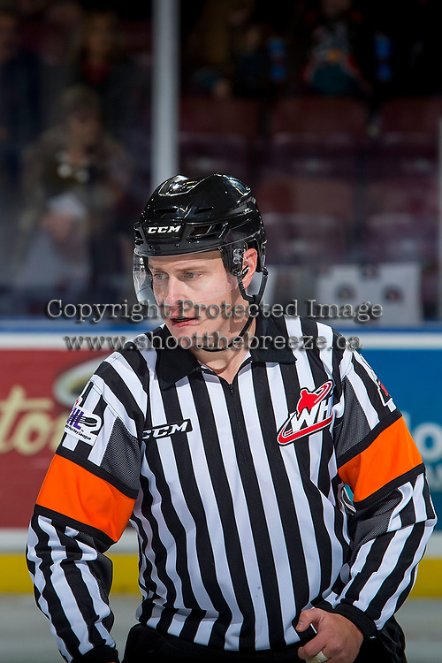 KELOWNA, CANADA - NOVEMBER 14: Referee Ward Pateman stands on the ice at the Kelowna Rockets on November 14, 2017 at Prospera Place in Kelowna, British Columbia, Canada.  (Photo by Marissa Baecker/Shoot the Breeze)  *** Local Caption ***