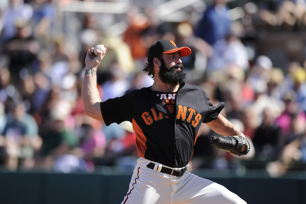 SCOTTSDALE, AZ - MARCH 09:  Brian Wilson #38 of the San Francisco Giants pitches against the Chicago White Sox on March 09, 2011 at Scottsdale Stadium in Scottsdale, Arizona. The Giants defeated the White Sox 4-2.  (Photo by Ron Vesely)