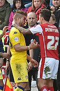 Gaetano Berardi (28) of Leeds United sustained injury  during the Sky Bet Championship match between Rotherham United and Leeds United at the New York Stadium, Rotherham, England on 2 April 2016. Photo by Ian Lyall.
