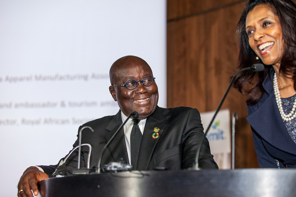 President of Ghana Nana Akufo-Addo during a public event hosted by the Royal African Society at the Victoria and Albert Museum in London as part of international events marking Ghana's 60th independence anniversary. London, Nov. 21, 2017. (Photo/Ivan Gonzalez)