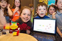 Heather Looney and Mathew Murphy Gael Scoil Mhic Ashleigh with their drumming  project at the Jnr Lego League organized through schools by the Galway Education Centre at The Radisson blu hotel<br />  Photo: Andrew Downes,  xposure