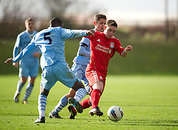 LIVERPOOL, ENGLAND - Saturday, January 21, 2012: Liverpool's Jack Dunn in action against Manchester City during the FA Premier League Academy match at the Kirkby Academy. (Pic by David Rawcliffe/Propaganda)