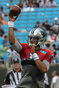 Carolina Panthers quarterback Cam Newton (1) tossing a pass during Fan Fest at Bank of America Stadium, Friday, Aug. 2, 2019, in Charlotte, NC. (Brian Villanueva/Image of Sport)
