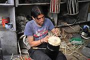 Asia, Nepal, Kathmandu, traditional drum manufacturer