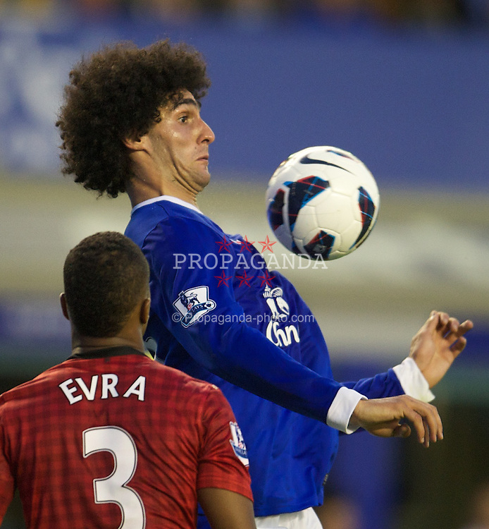 LIVERPOOL, ENGLAND - Monday, August 20, 2012: Everton's Marouane Fellaini in action against Manchester United during the Premiership match at Goodison Park. (Pic by David Rawcliffe/Propaganda)
