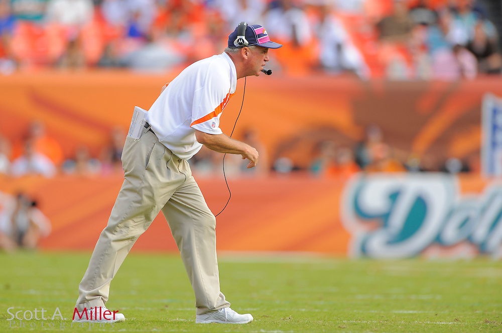 Denver Broncos head coach John Fox during the Broncos 18-15 overtime win against the Miami Dolphins at Sun Life Stadium on Oct. 22, 2011 in Miami Gardens, Fla.  ...©2011 Scott A. Miller