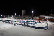 &Ouml;STERSUND, SVERIGE - 2017-12-03: &Ouml;versikt &ouml;ver &Ouml;stersunds Skidstadion under damernas jaktstart t&auml;vling under IBU World Cup Skidskytte p&aring; &Ouml;stersunds Skidstadion den 1 december 2017 i &Ouml;stersund, Sverige.<br /> Foto: Johan Axelsson/Ombrello<br /> ***BETALBILD***