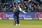 Ben Stokes of England hits the ball over the boundary for six runs during the third Royal London One Day International match between England and Pakistan at the Bristol County Ground, Bristol, United Kingdom on 14 May 2019.
