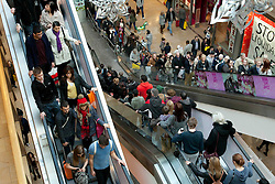 © Licensed to London News Pictures. 16/12/2012. Birmingham, UK. Abusy weekend in Birmingham as the city id filled with Xmas shoppers. Pictured, packed escaltors inside the Bullring shopping centre. Photo credit : Dave Warren/LNP