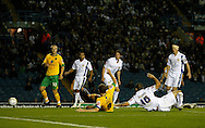 Leeds - Monday October 19th, 2009: Grant Holt (number 9) of Norwich City scores their first goal during the Coca Cola League One match at Elland Road, Leeds. (Pic by Paul Thomas/Focus Images)..