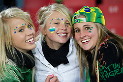 Brazil fans enjoys the atmosphere ahead of the 2010 FIFA World Cup South Africa Group G match between Brazil and North Korea at Ellis Park Stadium on June 15, 2010 in Johannesburg, South Africa.  (Photo by Vid Ponikvar / Sportida)