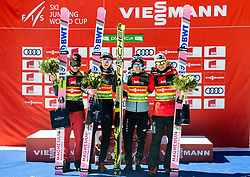 Winning team of Poland: Piotr Zyla (POL), Jakub Wolny (POL),  Kamil Stoch (POL) and  Dawid Kubacki (POL) celebrate during Trophy ceremony after the Ski Flying Hill Team Competition at Day 3 of FIS Ski Jumping World Cup Final 2019, on March 23, 2019 in Planica, Slovenia. Photo by Vid Ponikvar / Sportida