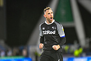 Richard Keogh of Derby County (6) celebrates the win during the EFL Sky Bet Championship match between Huddersfield Town and Derby County at the John Smiths Stadium, Huddersfield, England on 5 August 2019.