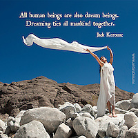 Jack Kerouac quote. Photograph of woman in flowing white gown standing in a magestic landscape making a cloud appear.