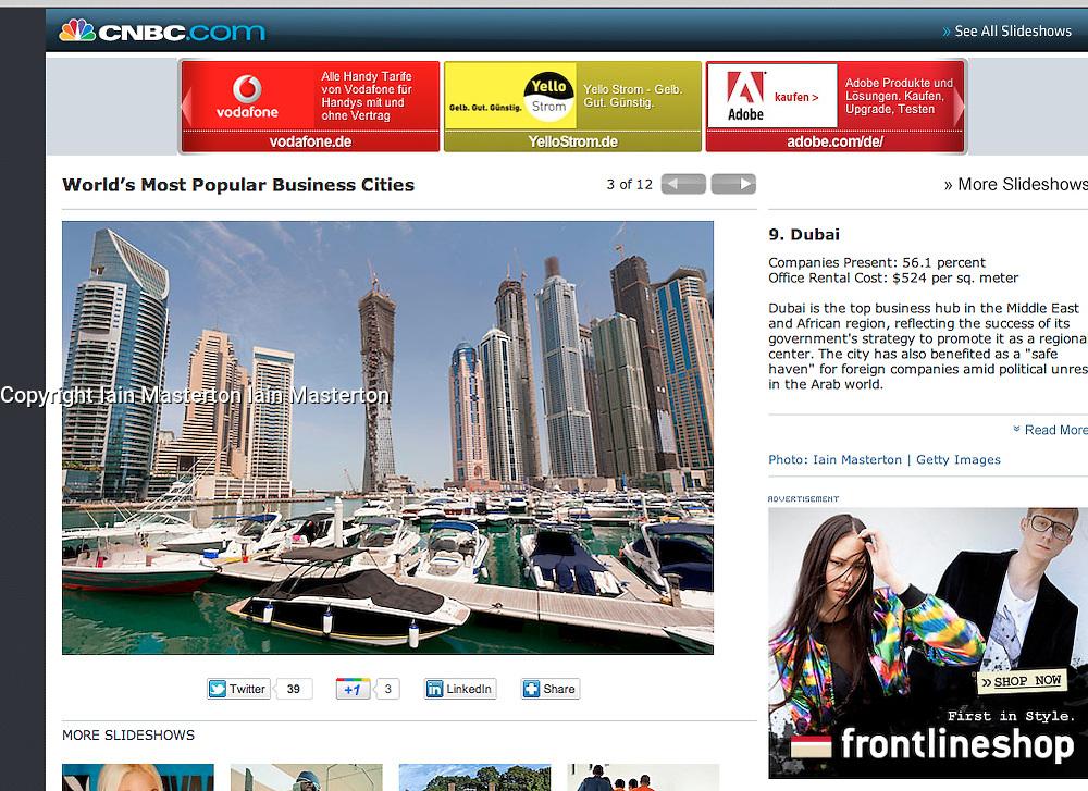 tearsheet from CNBC.com, Dubai