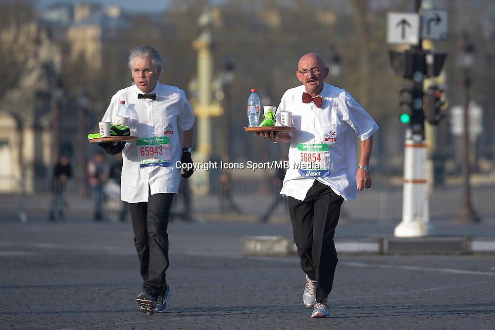 Illustration garcon de cafe - 12.04.2015 - Marathon de Paris 2015<br />Photo :  Andre Ferreira  / Icon Sport