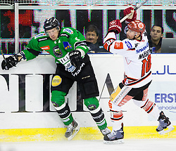 04.01.2015, Hala Tivoli, Ljubljana, SLO, EBEL, HDD Telemach Olimpija vs HC TWK Innsbruck, 35. Runde, in picture Bostjan Groznik (HDD Telemach Olimpija, #6) vs Patrick Mössmer (HC TWK Innsbruck, #10) during the Erste Bank Icehockey League 35. Round between HDD Telemach Olimpija and HC TWK Innsbruck at the Hala Tivoli, Ljubljana, Slovenia on 2015/01/04. Photo by Matic Klansek Velej / Sportida