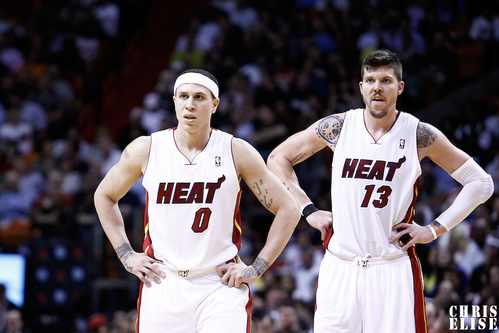 08 March 2011: Miami Heat point guard Mike Bibby (0) and Miami Heat shooting guard Mike Miller (13) are seen during the Portland Trail Blazers 105-96 victory over the Miami Heat at the AmericanAirlines Arena, Miami, Florida, USA.