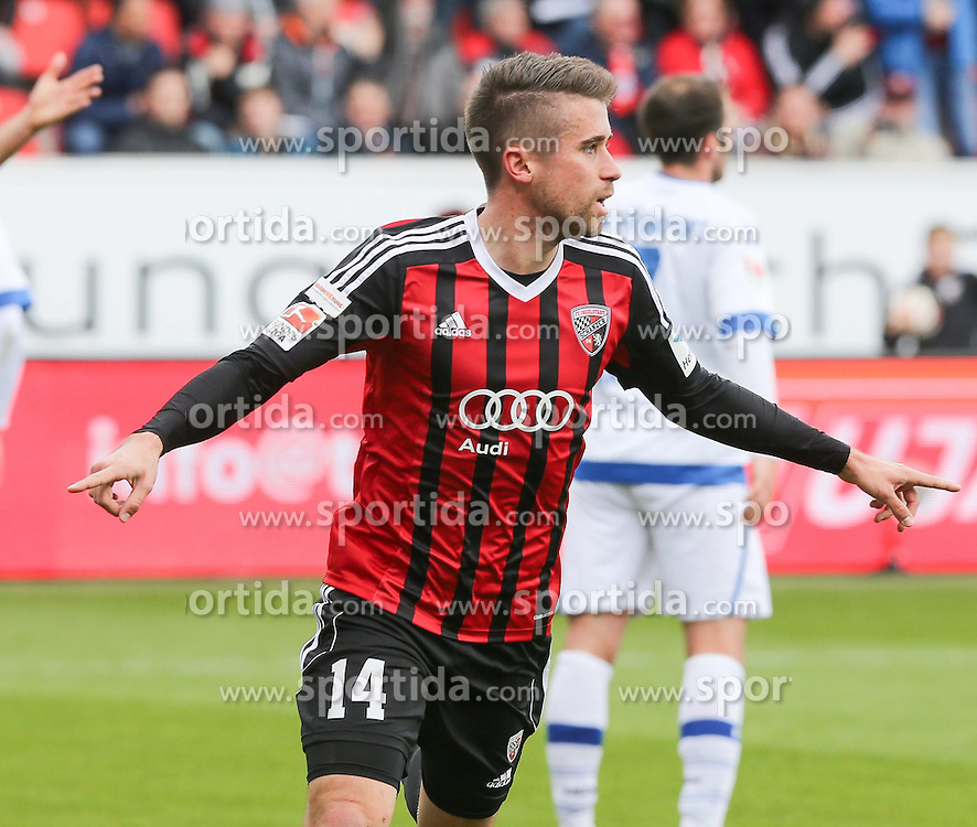 05.04.2015, Audi Sportpark, Ingolstadt, GER, 2. FBL, FC Ingolstadt 04 vs FSV Frankfurt, 27. Runde, im Bild Abseitstor: Stefan Lex (Nr.14, FC Ingolstadt 04) freut sich zu frueh - Lukas Hinterseer (Nr.16, FC Ingolstadt 04) reklamiert bereits // during the 2nd German Bundesliga 27th round match between FC Ingolstadt 04 and FSV Frankfurt at the Audi Sportpark in Ingolstadt, Germany on 2015/04/05. EXPA Pictures &copy; 2015, PhotoCredit: EXPA/ Eibner-Pressefoto/ Strisch<br /> <br /> *****ATTENTION - OUT of GER*****