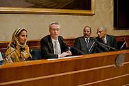 Roma 13 Novembre 2013<br /> Conferenza stampa al Senato del presidente della Repubblica araba Sahrawi Mohamed Abdelaziz in occasione dell'incontro con  l'Intergruppo parlamentare di solidarietà con il Popolo Sahrawi per fare il punto sulla situazione nel Sahara occidentale . Il  presidente della Repubblica araba Sahrawi Mohamed Abdelaziz con con il senatore Stefano Vaccari