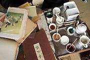 Japan fabric dying tools paint and books for inspiration