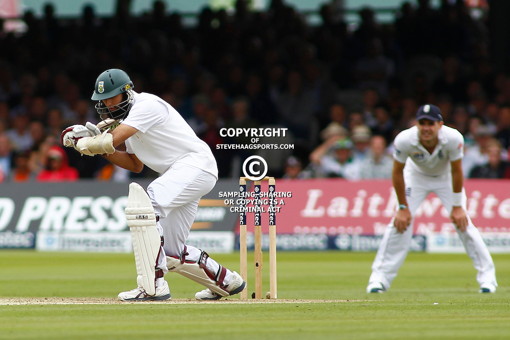 16/08/2012 London, England. South Africa's Hashim Amla is bowled out by England's Steven Finn not in picture during the third Investec cricket international test match between England and South Africa, played at the Lords Cricket Ground: Mandatory credit: Mitchell Gunn