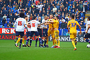 Bolton Midfielder Darren Pratley and Preston North End Defender Bailey Wright come to blows during the Sky Bet Championship match between Bolton Wanderers and Preston North End at the Macron Stadium, Bolton, England on 12 March 2016. Photo by Pete Burns.