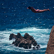 Cliff diver at La Quebrada. Acapulco, Guerrero. Mexico.