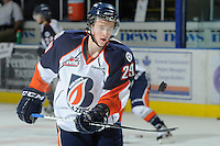 KELOWNA, CANADA, OCTOBER 29: Aspen Sterzer #29 of the Kamloops Blazers dangles the puck during warm up as the Kamloops Blazers visit the Kelowna Rockets  on October 29, 2011 at Prospera Place in Kelowna, British Columbia, Canada (Photo by Marissa Baecker/Shoot the Breeze) *** Local Caption *** Aspen Sterzer;