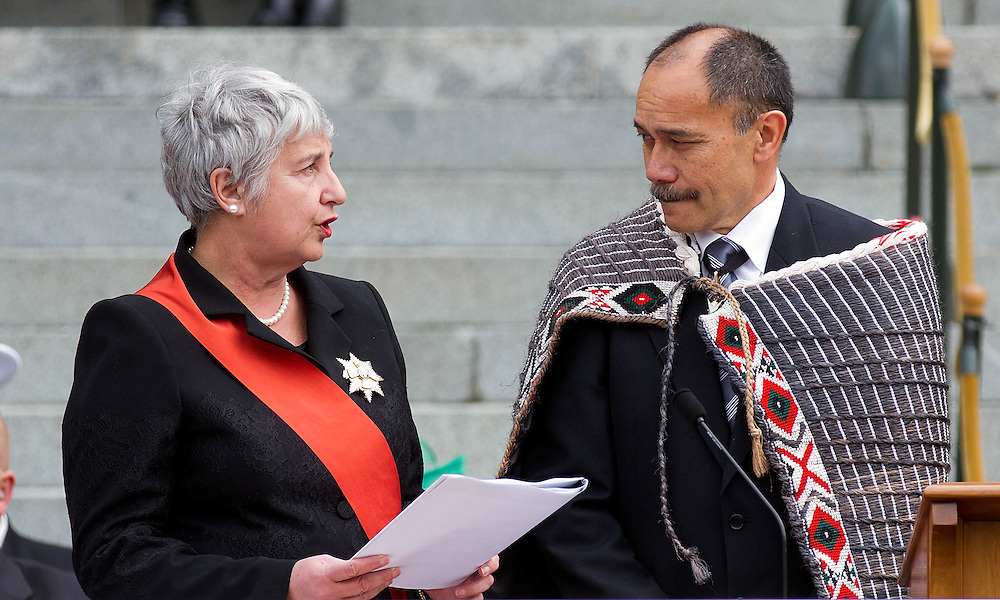 The new Governor General of New Zealand Lieutenant General Sir Jerry Mateparae is sworn in by the Chief Justice Dame Sian Elias during the swearing in of the New Governor General at Parliament in Wellington, New Zealand, Wednesday, August 31st, 2011. Credit:SNPA / Marty Melville