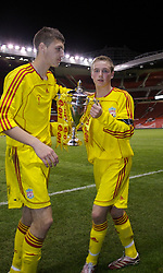 Manchester, England - Thursday, April 26, 2007: Liverpool's Steven Irwin and Craig Lindfield celebrates with the trophy after beating Manchester United on penalties to win the FA Youth Cup for the second successive year during the FA Youth Cup Final 2nd Leg at Old Trafford. (Pic by David Rawcliffe/Propaganda)