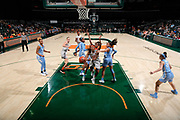 January 20, 2019: Mykea Gray #5 of Miami in action during the NCAA basketball game between the Miami Hurricanes and the North Carolina Tar Heels in Coral Gables, Florida. The 'Canes defeated the Tar Heels 76-68.