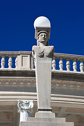Statue light pole, outside of the Neptune Pool, Hearst Castle, San Simeon, California, United States of America